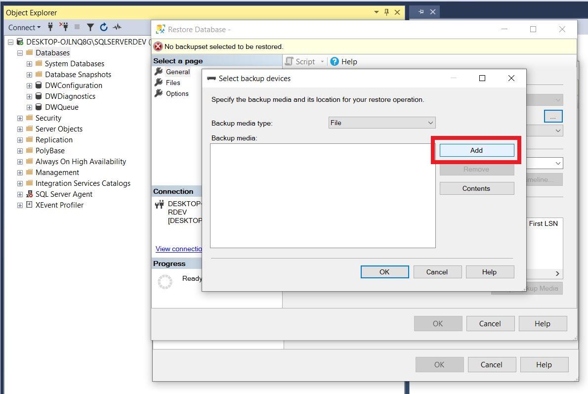 Restoring sample database using ssms Step 3